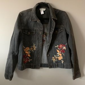 Jean Jacket With Floral Embroidery
